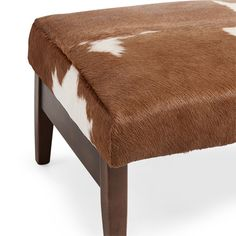 "Wordsmith 24"" Leather Ottoman in Brindle Brown"