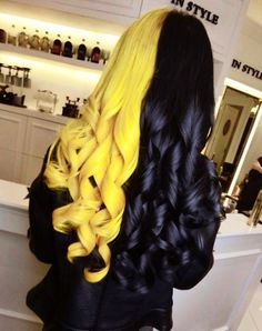 Split-dyed hair in yellow and black hair colors