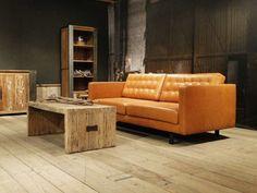 Leren cognac Bank Alesso in leer en stof  | robuustetafels.nl