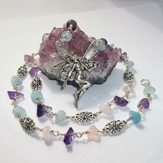 Fairy Gemstone Necklace, Amethyst, Aquamarine, Rose Quartz, Fairy, Art Deco, Healing, Pagan, Wicca, Fantasy, Protection, Courage, Love
