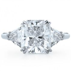 Radiant Engagement Ring Diamond with Trilliant Sides