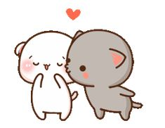 LINE Official Stickers - Mochi Mochi Peach Cat Sound Stickers Example with GIF Animation Cute Anime Cat, Cute Bunny Cartoon, Cute Kawaii Animals, Cute Couple Cartoon, Cute Cartoon Pictures, Cute Love Pictures, Cute Cat Gif, Cute Kiss, Cute Love Gif