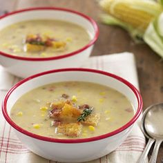 Our richly flavored corn chowder gets a smoky kick from bacon and ground cumin. Serve this soup with anything from grilled cheese to a simple green salad for a satisfying meal. Recipe: Smoky Corn Chowder   - Delish.com