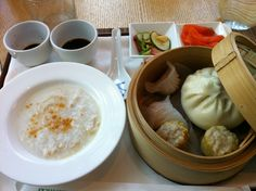 Perfect breakfast, including congee and dim sum.