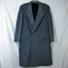 Wool Cashmere Blend Coat Union Made ACTWU Large Vtg Glenhill House Mens Gray…