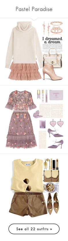 """""""Pastel Paradise"""" by lilyjk ❤ liked on Polyvore featuring self-portrait, Kerr®, Sonia Rykiel, Diane Von Furstenberg, Opening Ceremony, Stephen Webster, La Preciosa, Needle & Thread, Urban Decay and Tory Burch"""