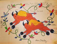 Contemporary Ledger Art by Avis Charley kK American Indian Art, American Indians, Buffalo Art, Indian Quilt, Native American Artists, Southwest Art, Indian Artist, Indigenous Art, Aboriginal Art