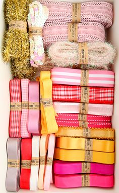 I really like these ribbons and twine,  wish I had a yard of each.