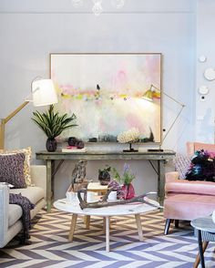 Modern pink/ artwork by @michaelbondart, interiors by fenton & fenton