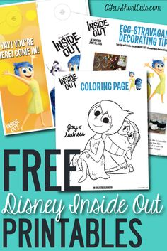 """Free Disney Pixar Inside Out Printable Activity Sheets Go now and print these FREE Disney Pixar Inside Out Activity Sheets! Great way to keep the kids busy on those """"I'm Bored"""" Days. Movie Inside Out, Disney Inside Out, Art Therapy Activities, Activities For Kids, Emotions Activities, Play Therapy, Therapy Ideas, Inside Out Party Ideas, School Social Work"""
