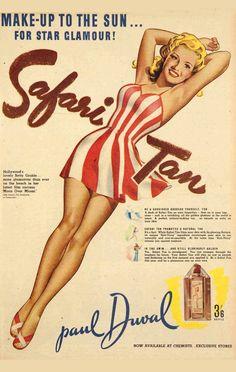 Betty Grable for Safari Tan 1941 vintage ad print poster #bathingbeauty