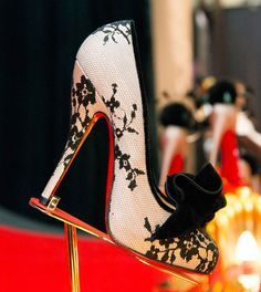 Christian Louboutin Cheap Outlet Lady Peep Brocade Red Sole Pump, Bronze #CL #Louboutins #Shoes.