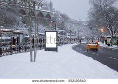 Mock up billboard in a snowy day, Istanbul - Shutterstock Premier