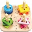 With the Creative Peg Puzzle from Hape kids join puzzle pieces together and then twist the shapes to fit on the appropriate posts. Stacking, sorting and puzzle game. Includes 12 colorful wooden pieces and 4 base puzzle pieces. Wooden Pegs, Wooden Puzzles, Toddler Toys, Kids Toys, Puzzles Für Kinder, Hape Toys, Special Needs Toys, Puzzles For Toddlers, Puzzle Toys