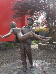 "No idea this existed.just another reason to get back to Ireland one day! Statue of Maureen O'Hara and John Wayne at Cong, Ireland - where ""The Quiet Man"" was filmed. Ireland Vacation, Ireland Travel, John Wayne, Statues, The Quiet Man, Celtic Pride, Love Ireland, Maureen O'hara, Erin Go Bragh"