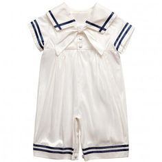 Angels & Fishes Baby Boys Ivory Silk Sailor Suit with Navy Blue Trims at Childrensalon.com - the ultimate sailor suit; just splendid!