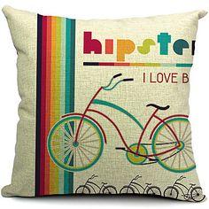 moderna e colorida bicicleta algodão / linho fronha decorativo – EUR € 13.63