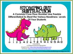 A Differentiated Kindergarten: Stomping Out Subtraction and A Differentiated Freebie That Meets Common Core .freebie and instructions on how to make a floor-sized chart/numberline. Subtraction Kindergarten, Differentiated Kindergarten, Subtraction Activities, Teaching Math, In Kindergarten, Math Activities, Teaching Ideas, Numeracy, Learning Resources