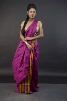 Pure handloom Mulberry Silk Saree. Color: Purple / Yellow Blouse Piece: Yes Fall Pico : Yes Care : Dry- Clean Only