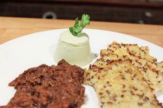 Coriander Panna Cotta with Cauliflower Crackers