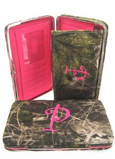 "Soft Camo Initial "" P "" Thick Flat Wallet Clutch Purse Hot Pink Camoflauge $19.99"
