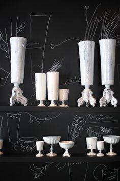 White vase collection.