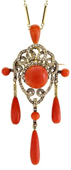 Early Victorian Coral and Diamond Girandole Pin/Pendant,1850.   An 18K yellow gold early Victorian girandole pin/pendant featuring smooth, polished coral set amongst loops of rose-cut diamonds; with removable pin fitting. Circa 1850.