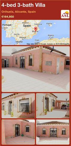 Villa for Sale in Orihuela, Alicante, Spain with 4 bedrooms, 3 bathrooms - A Spanish Life Murcia, Valencia, Orange Grove, Alicante Spain, Wood Beams, Private Pool, French Doors, Terrace, Villa