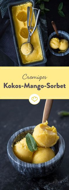Mango, Kokos, Ahornsirup und ein Spritzer Zitrone machen es sich in der Eismaschine bequem und verwandeln sich in cremig-erfrischendes Sorbet.