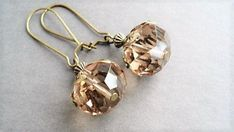 Champagne Earrings Crystal Jewelry Vintage by BeadPassionbyAB