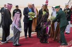 With trumpets blaring, cannons booming and fighter jets streaking overhead trailed by red, white and blue contrails, President Trump arrived in the scorching heat of the Arabian desert on Saturday hoping to realign the politics and diplomacy of the Middle East by forcefully reasserting American support for Sunni Muslim countries and Israel against Iran's Shiite-led government.