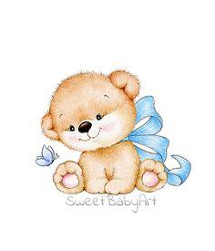 Cute baby Teddy bear with blue bow Baby Room Wall Art, Baby Art, Nursery Art, Drawing Cartoon Characters, Cartoon Drawings, Cute Drawings, Teddy Bear Nursery, Baby Teddy Bear, Teddy Bears