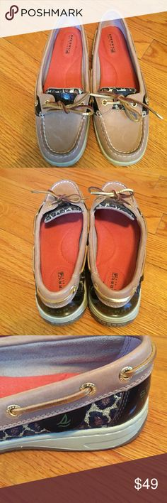 Sperry Top Siders! Tan leopard print😍 Wonderful condition ! Sperry Top-Sider Shoes Flats & Loafers