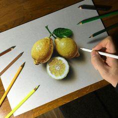 Realistic colored pencil lemon