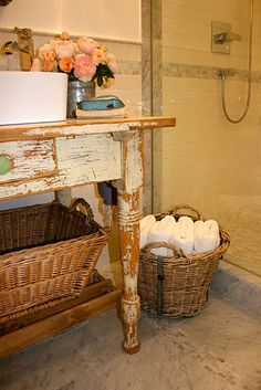 Suzie: The Polished Pebble - Shabby chic bathroom with glass shower door partition, subway . Modern Country Bathrooms, Cottage Style Bathrooms, Rustic Bathrooms, Chic Bathrooms, Shabby Chic Furniture, Shabby Chic Decor, Refurbished Furniture, Painted Furniture, Coastal Bathroom Decor