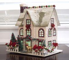 VINTAGE STYLE PUTZ CHRISTMAS VILLAGE HOUSE GLITTER TREES WREATH GARLAND REINDEER | eBay