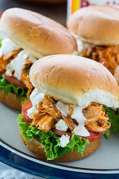Easy Buffalo Chicken Sliders made with rotisserie chicken. Buffalo Chicken Burgers, Buffalo Chicken Sandwiches, Buffalo Chicken Recipes, Summer Chicken Recipes, Costco Rotisserie Chicken Recipe, 30 Min Meals, Game Day Food, Spicy, Southern