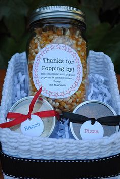 """Thanks For ""Popping"" By...popcorn gift basket with jar of popcorn and seasonings!  Cute gift idea for that special someone on your list who loves to watch movies!  Would also make a nice take home party favor."