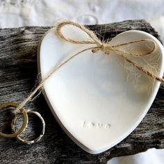 LOVE  Heart Wedding Ring Keeper Ring Dish by RedPunchBuggyonEtsy