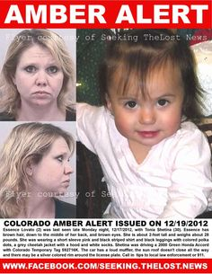 12/19/2012: COLORADO AMBER ALERT: EMERGENCY! Please share: Woman with felony criminal charges for... pinned with Pinvolve
