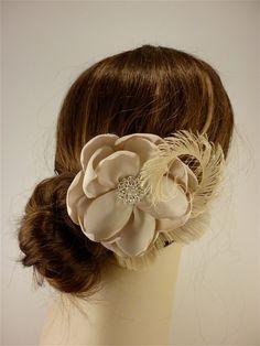 """Handmade Champagne  Bridal Flower Fascinator 4.5"""" flower, Bridal Headpiece, Bridal Fascinator, Wedding Fascinator, Flower Hair Clip"""