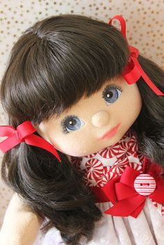 My Child Doll brunette ultra long with blue eyes
