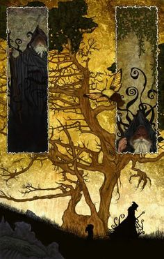 by Michael Hague. Dragons like spindly trees and yellow skies. Dragons occasionally like wizards, but not always. This one looks friendly enough.