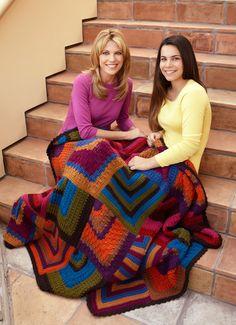 Lion Brand® Vanna's Choice® Mitered Diamond Throw  #crochet #pattern