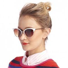 Women's White Metal Metal Cateye Sunglasses   Vivian by Sole Society