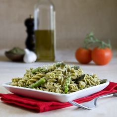 """Pesto"" made with kale, asparagus, and chickpeas, then tossed with pasta and more steamed asparagus."