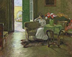 William Merritt Chase (American, 1849-1916), A Memory: In the Italian Villa, c.1910. Oil on canvas, 74.3 x 92.1 cm.    via laclefdescoeurs