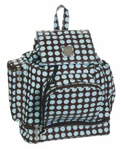 Backpack Diaper Bag in Heavenly Dots Chocolate Blue