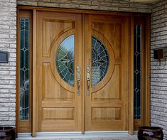 Our Cedar-made double door entry combined with beautiful half circle vented lites and sidelites make for a luxurious feel.Specs: Completely customized, using solid wood No veneers or fillers. Main Door Design Photos, Door Design Images, Home Door Design, Door Design Interior, Wooden Double Doors, Wooden Front Door Design, Double Door Design, Wooden Front Doors, Double Doors Exterior