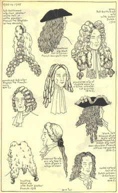18th Century Men's Hats and Wigs from the Village Hat Shop Gallery - Set I, 1700-1795
